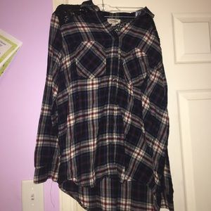 Express Flannel Button Down with Sequin Detailing